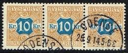 1907. Newspaper Stamps. 10 Kr. Brown/blue Wmk. Crown. 3-strip ODENSE 26. 9. 15. (Michel: V10X) - JF157881 - Danemark