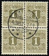 1907. Newspaper Stamps. 1 Øre Olive Wmk. Crown. 4-BLOCK AARHUS 2.7.08. (Michel: V1X) - JF158382 - Danemark