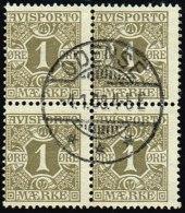 1907. Newspaper Stamps. 1 Øre Olive Wmk. Crown. 4-BLOCK ODENSE 4.1.08. (Michel: V1X) - JF158381 - Danemark