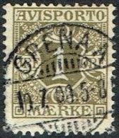1907. Newspaper Stamps. 1 Øre Olive Wmk. Crown. GRENAA 10. 7. 08. LUX (Michel: V1X) - JF164753 - Danemark