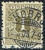 1907. Newspaper Stamps. 1 Øre Olive Wmk. Crown. HOBRO 19.10.08. LUX (Michel: V1X) - JF164754 - Danemark