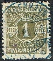 1907. Newspaper Stamps. 1 Øre Olive Wmk. Crown. KJØBENHAVN  2.10.08. In Blue. (Michel: V1X) - JF164755 - Danemark