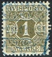 1907. Newspaper Stamps. 1 Øre Olive Wmk. Crown. KJØBENHAVN  2.10.08. In Blue. (Michel: V1X) - JF164752 - Danemark