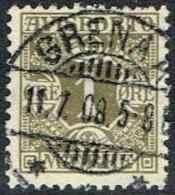 1907. Newspaper Stamps. 1 Øre Olive Wmk. Crown. GRENAA 11. 7. 08. LUX (Michel: V1X) - JF164756 - Non Classés