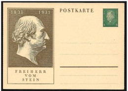 Germania/Germany/Allemagna: Intero, Stationery, Entier, Barone Vom Stein, Baron Von Stein - Beroemde Personen