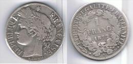 FRANCIA FRANCE  FRANC 1872 A PARIS  PLATA SILVER - Francia