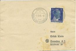 WW2 - 3 Juin 1945 - Enveloppe De PAPPRITZ Pour DRESDEN  - Le Timbre De HITLER Est Masqué Par Une Etoile Bleue - Historische Documenten