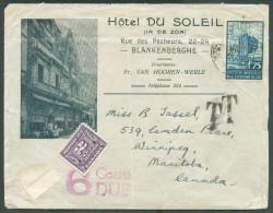 1Fr.75 Exposition Universelle De Bruxelles Obl. Sc BLANKENBERGHE  Sur Lettre Illustrée  (Hôtel Du Soleil Van Hooren-Wer - Unclassified