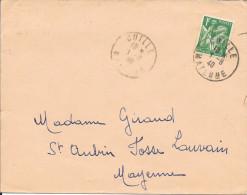 MAYENNE 53 - GUILLE - CACHET RECETTE N° R A3 - 1940 - ARRIVEE GORON CORRESPONDANT POSTAUX CP N° 3 - CATALOGUE A. LAUTIER - Postmark Collection (Covers)