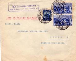 ITALIA  Storia Postale  Democratica  Lire  5  +  Coppia Lire  15    Avvento  X   Leeds  19 - 7 - 1947 - 6. 1946-.. Repubblica