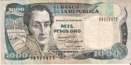 BILLETE DE COLOMBIA DE 1000 PESOS DEL AÑO 1987  (BANKNOTE) - Colombia