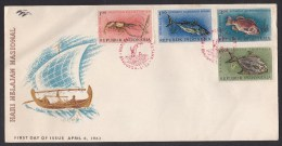 Indonesia: FDC First Day Cover, 1963, 4 Stamps, Sea Life, Fish, Fishes, Animal (minor Crease & Discolouring) - Indonesien