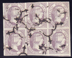 Spanien 12 C. Mi.#7 Im 6 Er-Block - 1850-68 Reino: Isabel II
