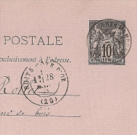 Type 17 NUITS  Cote D'Or Sur Entier SAGE. - 1877-1920: Periodo Semi Moderno