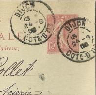 DAGUIN DIJON Cote D'Or Sur Entier SEMEUSE. FOULAGE. - Marcophilie (Lettres)