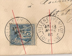DAGUIN R84/romain VILLENEUVE S LOT Lot Et Garonne Sur Enveloppe Au Type SAGE. 18 MARS 1886 - Marcophilie (Lettres)