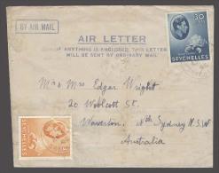 BC - Seychelles. Cartas. 1945 (30 April). Victoria - Australia / NSW. Sydney. Fkd Air Lettersheet 33c Rate Cds. Fine. - Sin Clasificación