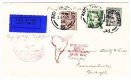 Irland - Zeppelin Südamerikafahrt 1932 LZ127 Brief Von Dublin 28.4.1932 Nach Recife Brasilien Via Berlin-Friedrichshafen - Poste Aérienne