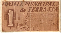 BILLETE DE 1 PTA DEL CONSELL MUNICIPAL DE TERRASSA  (SELLO SECO) DEL AÑO 1937 (BANKNOTE) - 1-2 Pesetas