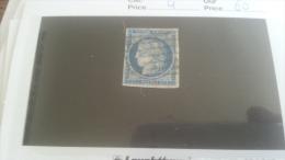 LOT 259136 TIMBRE DE FRANCE OBLITERE N�4 VALEUR 60 EUROS  DEPART A 1€