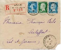 Lettre Recommandee De Lille Pour Astaffort Affr A 1,40 - Marcophilie (Lettres)