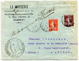 FRANCE ENVELOPPE COMMERCIALE  GREVE DES POSTES MAI 1909 (PARIS / NEVERS) RR - Postmark Collection (Covers)