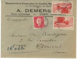 N°691+777x2 Sur Lettre Rec. Provisoire De Curel Pour Amiens Du 11/8/47 - France