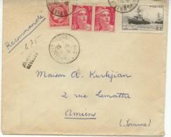 N° 676+716x2+752 Sur Lettre Rec. Provisoire De Nancy Pour Amiens Du 8/6/46 - France