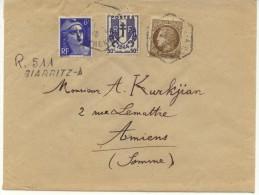 N° 720+673+681 Sur Lettre Rec. Provisoire De Biarritz Pour Amiens Du 28/5/46 - Lettres & Documents