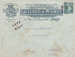 YT 137d Type IIaA Lettre Gaillard & Mignot Paris - 1877-1920: Semi Modern Period