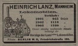 Original Werbung - 1905 - Heinrich Lanz Locomobile , Mannheim , Landwirtschaft !!! - Traktoren