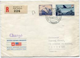 SUISSE LETTRE RECOMMANDEE OBLITERATION MAIDEN VOYAGE SWISSAIR  SWITZERLAND - USA  GENEVE 2.V.47 - Posta Aerea