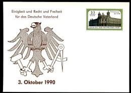 DDR PP21 D1/001 Privat-Postkarte WIEDERVEREINIGUNG ** 1990 NGK 10,00 € - Privatpostkarten - Ungebraucht