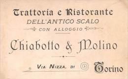 """03393 """"TORINO - TRATTORIA E RISTORANTE DELL'ANTICO SCALO - VIA NIZZA, 31"""" CARTONCINO PUBBLICITARIO. - Pubblicitari"""