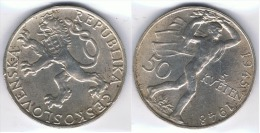 CHECOSLOVAQUIA 5 CORONAS 1948 PLATA SILVER - Checoslovaquia