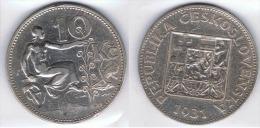 CHECOSLOVAQUIA 10 CORONAS 1931 PLATA SILVER - Checoslovaquia