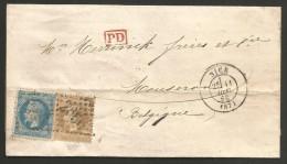 France - Napoleon III - N°28A+29B Lettre Nice à Mouscron 11/10/69 - PD - Ambulant Marseille à Paris + Midi 1 - Marcophilie (Lettres)