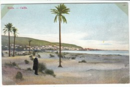 Haifa (Israel) Ottoman Empire, Turkey, Man Stands On Beach, C1900s Vintage Postcard - Israel