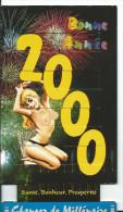 Calendier double 1999 / 2000 � syst�me pin up seins nus ou avec soutien gorge , changer de mill�naire...