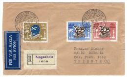 SOMALIA AFIS /SOMALIE -1952 REGISTERED AIR MAIL COVER TO ITALY - Somalia (1960-...)