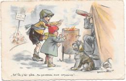 CPA N°3 GERMAINE BOURET- EH! Le P´ Tit Père , Tu Penseras Aux Copains ! - Bouret, Germaine