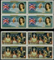 AITUTAKI 1977 Flag Island Silver Jubilee 50c OVPT:OHMS 4-Blocks:2 (8 stamps)  [Aufdruck,surimprim�,sobreimpreso]