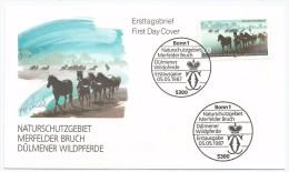 Allemagne RFA 1987 1160 FDC Chevaux Sauvages Merfelder Bruch Cheval  Paarden  Horses  Pferde  Caballos  Cavalli - Cavalli