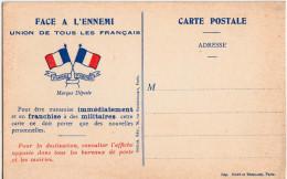 CARTE POSTALE DE FRANCHISE MILITAIRE - Militaria