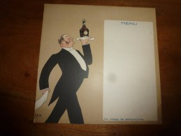 MENU Par SEM    Un Verre De Bénédictine ,  M? M. Imprimerie De La Bénédictine  :dimension 19cm X 19cm - Alcools