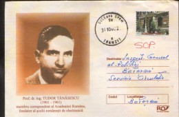 Romania - Postal Stationery Cover 2002 Used -Professor Dr.ing.T.Tanasescu, Founder Of The Romanian School Of Electronics - Informática