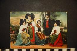 CP, Folklore, Costume Alsace, Elsass Lothringische Trachten  Femmes Et Homme En Costumes Alsaciens - Costumes