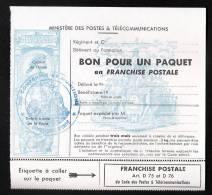 FM TIMBRES DE FRANCHISE MILITAIRE POUR COLIS PAQUET + ETIQUETTE GOMMEE A COLLER POSTES TELEGRAPHES COMPAGNIE MUNITION - Franchise Militaire (timbres)