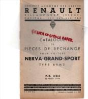 RENAULT BILLANCOURT - CATALOGUE PIECES RECHANGE POUR VOITURE NERVA GRAND SPORT TYPE ABM 5- FEVRIER 1936 - Cars