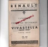 RENAULT BILLANCOURT - CATALOGUE PIECES RECHANGE POUR  VOITURE VIVASTELLA GRAND SPORT TYPE ADB 1- JUILLET 1936-RARE - Cars